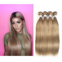 insan saçı örgü inç toptan satış-Kül Sarışın Düz Saç Örgü Demetleri # 8 Brezilyalı Malezya Hint Perulu Remy İnsan Saç Uzantıları 3 Veya 4 Demetleri 16-24 inç