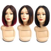 kısa düz dantel ön insan saçı toptan satış-Ombre İnsan Saç Dantel Peruk Kısa Bob Stil 10 Inç Brezilyalı Düz Saç Kapaksız peruk Ucuz İnsan Saç Peruk