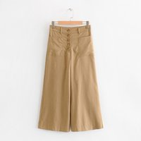 cintura alta calças cáqui venda por atacado-Calças de cintura alta Khaki verão 2019 cor sólida streetwear moda senhoras calças