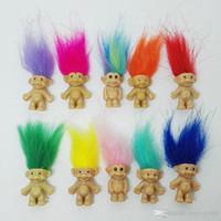 ingrosso bambole di amore pvc-Vendita CALDA Colorato Capelli Troll Doll Family Members Papà mamma Baby Boy Girl Dam Trolls Toy Gift Happy Love Family