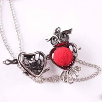 Wholesale hollow silver chain resale online - Pretty Vintage Owl Beautifully Necklace For Women Luxury Jewelry Sponge Aromatherapy Diffuser Pendants Necklaces Hollow Open locket Necklace