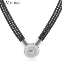 jóia com botão rápido vocheng venda por atacado-10 pçs / lote Vocheng 18mm botão de pressão de gengibre jóias 10 cores ímã de couro colar de pingente Nn-369 * 10 frete grátis J 190515