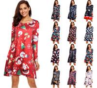 vestido de mujer de año nuevo al por mayor-Navidad falda de las mujeres del otoño usa impresa familiares vestidos de mango con copos de nieve en la víspera de Año Nuevo