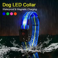 Wholesale led dog collar resale online - Waterproof LED Dog Collar Original Magnetic Charging Glowing Collar For Dogs Anti Lost Safe Luminous Dog Collars Accessories Y200515