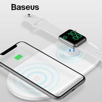assistir fã venda por atacado-Baseus 2 em 1 pad carregador sem fio para apple watch iphone x xs xr max desktop rápido carregador de carregamento sem fio para a apple fãs