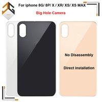 iphone oem zurück großhandel-OEM Big Lochkamera Rückseiten-Glasabdeckung für iPhone 8G 8p X XR XS MAX Batterie-Abdeckung Gehäuse mit Kleber-Aufkleber Kostenloser Versand