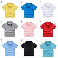96bce3232 Kids Clothes Boys T-Shirts Summer Tops Polo Shirts Primary Girls Uniform  Toddler Short Sleeve Tees MMA1544 100pcs