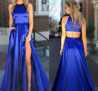 Wholesale sexy hot silk online – Cheapest Prom Dresses A Line Hot Sell Split Satin Evening Gowns Sexy Back With Pocket Long Pageant Wear BM0905