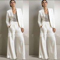 anne gelin payetler toptan satış-2019 slivery Sequins Üst Beyaz Pantolon Gelin Elbise Biçimsel şifon Smokin Kadınlar Parti Giyim Of anne Takımları