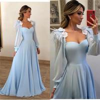 vestido de noche mangas flores al por mayor-Elegante azul claro de plumas vestidos de baile Flores 2019 una línea de manga larga baratos Yousef Aljasmi árabe gasa vestidos de noche formales