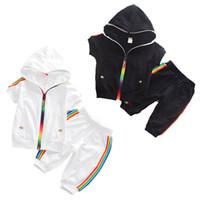 Wholesale rainbow baby boys clothing resale online - kids designer clothes boys girls outfits children zipper Hoodies Rainbow stripe pants set summer sportswear baby Clothing Sets C6613