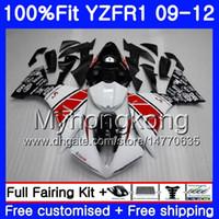 ingrosso yzf r1 che si abbellisce rosso-Iniezione per YAMAHA YZF 1000 R 1 YZF-1000 YZFR1 09 10 11 12 241HM.0 YZF R1 YZF1000 YZF-R1 2009 2010 2011 Kit di carenatura 2012 Rosso bianco nero