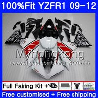 preto branco yamaha r1 venda por atacado-Injecção Para YAMAHA YZF 1000 R 1 YZF-1000 YZFR1 09 10 11 12 241HM.0 YZF R1 YZF1000 YZF-R1 2009 2010 2011 2012 Carenagem Kit vermelho branco preto
