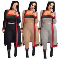 Wholesale coats set resale online - 3pcs Set Women Coat Tracksuit Long Sleeve Striped Coats Outwear Bra Crop Top Pants Leggings Outfits Autumn Designer Sportswear Suit S X