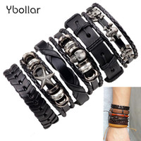 bracelete de cabeça de crânio venda por atacado-Vintage 6pcs set Men's Skull Head Black Brown Leather Bracelets Multi Layers Braided Rope Handmade Bracelet Punk Bangles Jewelry