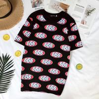 camiseta de verano de los hombres completos al por mayor-Moda 666 Logo Camisetas Hombre 666 Número Completo Impreso Tops Camiseta Summer Box Logotipo Camiseta Moda Hip Hop de manga corta Streetwear