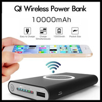 cargador de cilindro portátil al por mayor-Adaptador de carga rápida Qi inalámbrico cargador de batería 10000mAh Banco de potencia para Samsung Nota S8 para el iPhone iPhone 8 X con Box