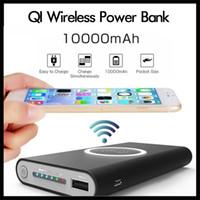 schnellste ladung power bank großhandel-Wireless-Qi-Ladegerät 10000mAh Batterieleistung-Bank Schnellladeadapter für Samsung-Anmerkung S8 für iPhone 8 iphone X mit Kleinkasten