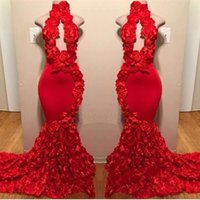 Wholesale prom dresses high neck designs resale online - Red New Design Mermaid Prom Dresses Appliques High Neck Sexy Formal Evening Dresses Sweep Train Satin Luxury Fashion Cocktail Party Gowns
