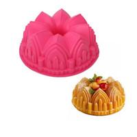 doğum günü pastası dekorasyon araçları toptan satış-1PC Büyük Taç Kale Silikon Kek Kalıp 3D Birthday Cake Pan Dekorasyon Araçları Büyük Ekmek Fondan DIY Pişirme Pasta Aracı