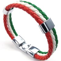 красные белые зеленые флаги оптовых-Jewelry bracelet, Italian flag bangle, leather alloy, for men's women, green white red