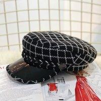 sombrero de vendedor de periódicos de tapa plana al por mayor-Gorra azul marino, gorro plano para niños primavera y otoño moda de invierno forma cóncava sombrero de vendedor de periódicos
