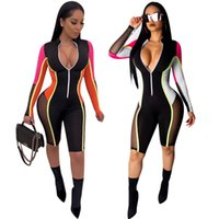 Wholesale see through catsuit resale online - Side See Through Mesh Spliced Sexy Playsuit Front Zipper Long Sleeve Casual Short Romper Women Colored Slim Catsuit L5310