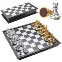 yapboz oyunları toptan satış-Yeni Katlanır Satranç Tahtası Satranç Bulmaca Satranç Oyunu Manyetik-oyuncak Moda Tahta Oyunları
