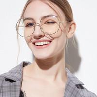 óculos transparentes de grandes dimensões venda por atacado-do Quadro mulheres Eyewear Acessórios Oversized metal Sunglass armações redondas Limpar lente Mulheres Óculos Óculos Femme