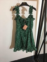 polka pontilhada vestidos mulheres venda por atacado-Frete Grátis 2019 Verão Verde Spaghetti Strap Polka Dot Imprimir Vestidos de Verão das Mulheres da Marca do Mesmo Estilo Vestidos de Runway Das Mulheres 070305