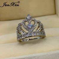 Wholesale crown set for wedding resale online - Female Crystal Big Crown Ring Silver White Zircon Love Heart Ring For Women Wedding Bands Luxury Engagement Jewelry Cz