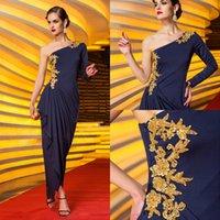 marineblau mütter kleid großhandel-2020 Marine-Blau mit langen Ärmeln Side Drapieren Mutter Kleider einer Schulter Asymmertrical Abendkleid formaler Abendkleider mit Applikationen