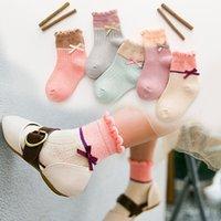 packs chaussettes bébé achat en gros de-5 couleurs / paquet mignon bébé Princesse filles Chaussettes Bow Sweet Baby Tube Chaussettes Enfants Enfants Jambière Sock Boot