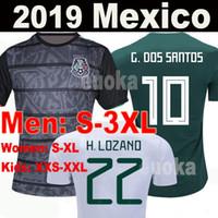 xxl mädchen gold großhandel-2019 Gold Cup T-Shirt Mexiko 19 20 HERREN FRAUEN Trikot 2018 CHICHARITO LOZANO MARQUEZ DOS SANTOS Mädchen-Fußballtrikot camisa de futbol