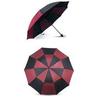 paraguas plegable doble negro al por mayor-Resistente al viento Tri-Fold Doble Capa Umbrella Rain Mujeres de Lujo A Prueba de Viento Paraguas Lluvia Para Hombres Negro Rojo Revestimiento Parasol
