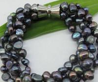 ingrosso bello braccialetto nero perla-Bracciale Beautiful Black Freshwater Pearl Bracciale a quattro fili in Silk Pouch