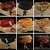 braceletes de madeira para mulheres venda por atacado-108 * 8mm Natural Sândalo Buda Budista Meditação 108 Contas de Madeira Oração Talão Mala Pulseira de Presente Para O Pai Mãe Mulheres Homens Jóias