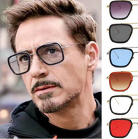 güneş gözlüğü tony toptan satış-Moda Avengers UV400 Tony Stark Uçuş Stil Güneş Erkekler Kare Marka Tasarım Güneş Gözlükleri ulculos De Sol Retro erkek