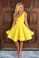 Wholesale short dresses online - 2019 Short Mini Yellow Cocktail Dresses V Neck Sexy Backless A Line Satin Formal Occasion Party Gown Custom Made Cheap Sale