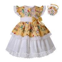 Wholesale girl shape flower resale online - Pettigirl Summer Yellow Flower Girl Dresses Heart shaped Hollow Boutique Baby Girl Clothes With Bows Headwear G DMGD201 B493