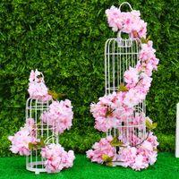 ingrosso vite di ciliegio-Artificiale Cherry Blossoms Silk Sakura Cherry Blossom Vine Wedding Arch Decorazione Festa in Casa In Rattan Wall Hanging Cherry Blossoms