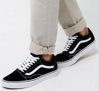 productos casuales al por mayor-Zapatos casuales Detalle del producto Clásico Negro Blanco Viejo Skool Hombres Mujeres Zapatos planos casuales Zapatillas Vanss Skateboard