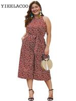 uma peça de macacão sem alças venda por atacado-Macacão de uma peça Floral tamanho grande impresso chiffon 2019 primavera / verão macacão sexy strapless sling das mulheres