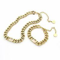 Europe America Jewelry Sets Lady Titanium Steel Engrave D Letter 18K Gold Thick Chain Necklaces Bracelets Sets