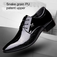 Wholesale wedding dress black low price resale online - Business man shoes mens snake grain shoes men lace up dress shoes office metal stud flats work loafers on low price JI04
