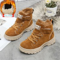 Wholesale real rabbit shoes for sale - Group buy Hot Sale Children Martin Boots Leather Shoes Boys Winter Real Rabbit Hair Warm Cotton Shoes Fashion Girls Kids Boots Non slip Y200104
