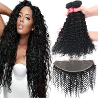 Wholesale 14 curly remy hair weave for sale - 8A Remy Brazilian Straight Body Wave Loose Wave Kinky Curly Deep Wave Virgin Hair Weaves Bundles With X4 Ear To Ear Lace Frontal Closure