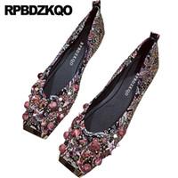 плоские сандалии для свадьбы оптовых-Metal Ballerina  Rhinestone Gold Sandals Flats Red Square Toe Chinese Printed Diamond Wedding Ballet Shoes Crystal Women