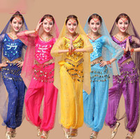 Wholesale bollywood woman costume for sale - Long Sleeve Belly Dancing Set Colors Women Adults India Egyptian Sequins Costumes Bollywood Stage Wear OOA6490