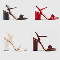 sandale schuhe großhandel-Frauen Designer Sandale Luxus High Heels Leder Kleid Hochzeit Schuhe Sexy Schuhe Doppelbuchstaben Ferse Sandalen Damen Schuhe Mid-Heel Sandale
